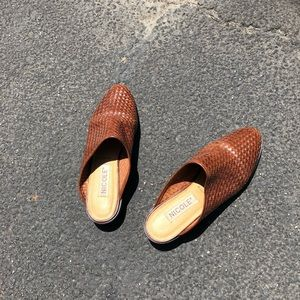 Vintage 90s Nicole Brown Woven Leather Mules